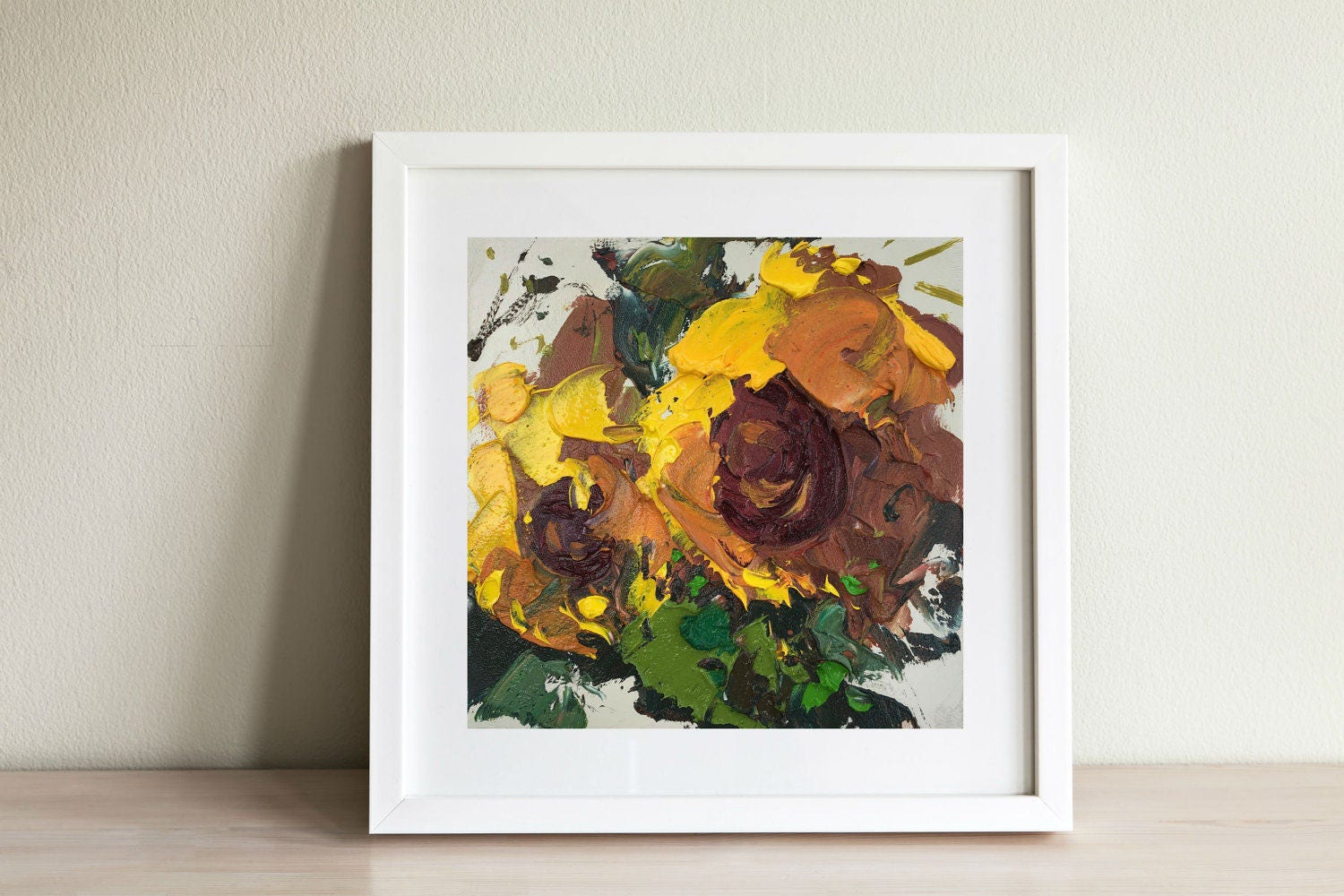 Sunflowers painting small kitchen decor yellow wall art for Small kitchen wall art