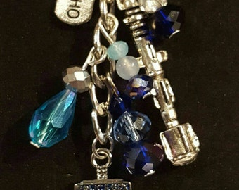 Doctor Who Tardis, sonic screwdriver and I heart Dr Who bag charm or key chain.