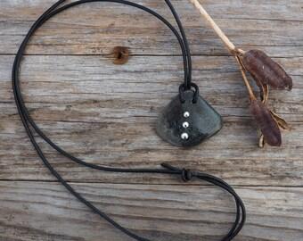 Silver studded bone pendant, adjustable necklace