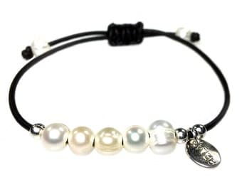 Bracelet Leather and Pearl 427