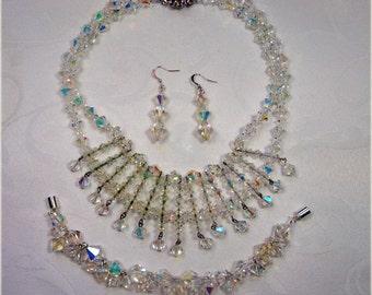 Stunning, 1950s, Aurora Borealis Regal Necklace, Bracelet & Earrings (LJ9)