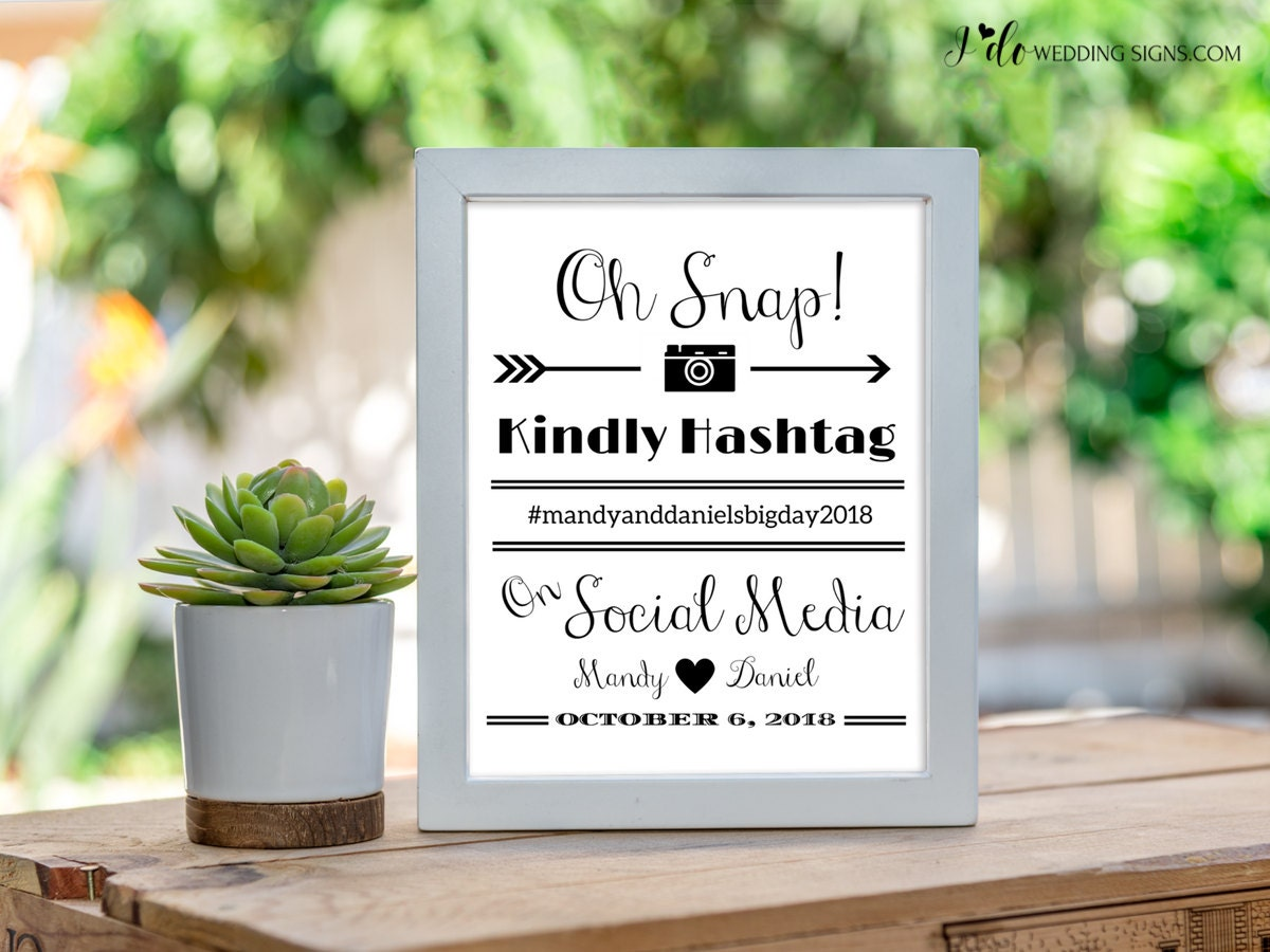 Social media hashtag sign instagram wedding custom hashtag for Decor hashtags