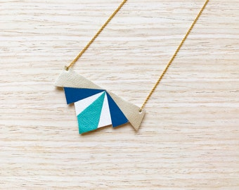 Emma necklace model Blue / / Blue / Necklace / faux leather / leatherette / / Gift for her / / Jewel for her