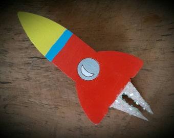 Rocket ship brooch