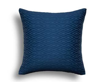 Blue Pillow Cover - Navy Pillow Cover - Blue Throw Pillow - Navy Throw Pillow - Navy Blue Pillow - Diamond Pattern - Matelasse Pillow Cover