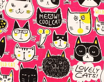 Meow Cool Cats Kittens printed Linen Fabric made in Japan by the Half Yard