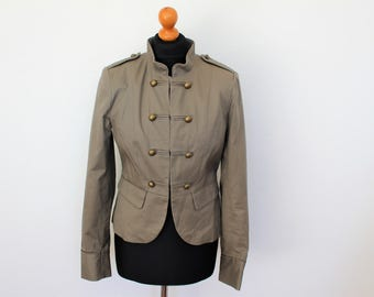 Gray Marching Band Jacket Light Grey Cotton Women's Double Breasted Military MJ Michael Jackson Blazer  Medium Size