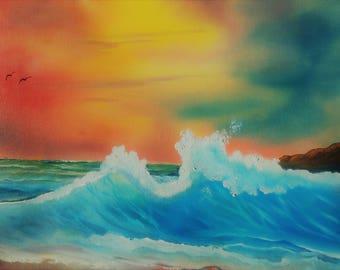 Original Ocean Sunset Painting Oil Painting