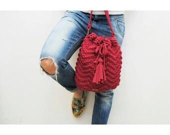 Zig Bag, bucket bag, handmade bag with black tassel, bag fuxia