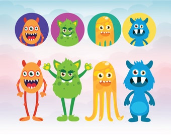 Cute Monster SVG - Funny monsters vector - files for cutting - Silly Monster SVG Cutting File - Halloween Monsters SVG, eps, dxf Cut Files