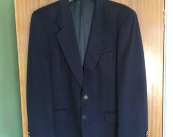 Men's, Vintage, Louis Feraud, Wool & Cashmere Navy Blue Blazer Size 42