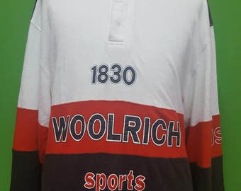 Vintage 90s WOOLRICH USA 3 colour long sleeve  Large size tshirt