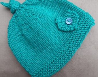Baby Beanie Hat, hand knitted in green yarn - age 0-6 months