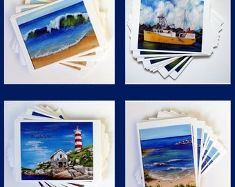 Set of 4 Original Art Painting Print Postcards 5x7