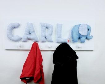 Kids coat hooks with name and elephant, personalized baby boy gift, blue, coat rack, wardrobe, coat peg