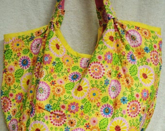 Yellow Flowered over sized bag