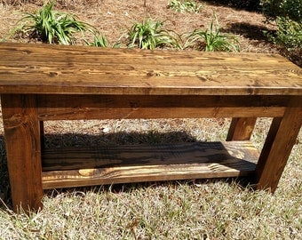 Rustic Farmhouse Bench with Lower Shelf