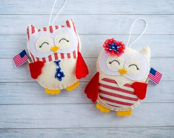 4th of July decor Owl ornament Independence day Decorative owls USA patriotic decor Patriotic gifts for friend Christmas American flag decor