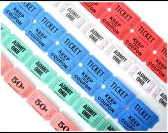 Carnival Raffle Ticket Assortment - Assorted Colorful Ticket Lot - Raffle Carnival Party Tickets