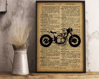 Motorcycle Dictionary Print, Motorcycle Illustration Dictionary Page, Cotton Canvas Print, Vintage Motorcycle Poster Wall Art Motor (M03)