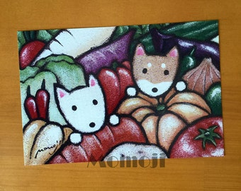 Two Shiba-dogs in Vegetables  Postcard set of 5,  Shiba-inu Art Print