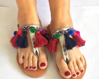 Boho Leather Sandals ''Lydia'', Pom Pom Sandals, Boho Sandals, Ethnic Sandals, Strappy Sandals