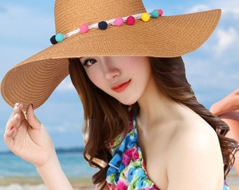Multi-color Pom Pom floppy Sun Hat