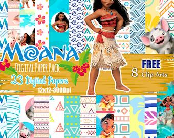 Moana digital paper, Moana Princess, Moana free clip art, Moana Theme, Vaiana digital paper, Moana Pattern, hawaiian paper, Ocean, Tiki
