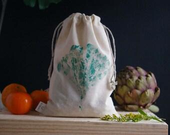 Bag loose (large) Zero waste in organic cotton muslin - ginkgo pattern