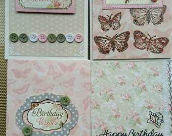 Birthday card set of 4 cards, butterflys cards