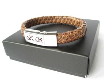 Personalized bracelet / Mens bracelet / Custom message / Leather bracelet / Braided bracelet / Antique brown bracelet / Mens jewelry