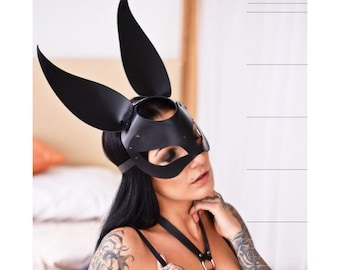BDSM mask Masquerade mask Gift for her Gift for girlfriend Fetish mask Black leather mask Sexy mask Cosplay mask Bondage mask Black mask