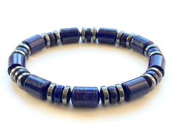 Lapis Lazuli Bracelet With Hematite Spacers Multiple Sizes Available UK Made