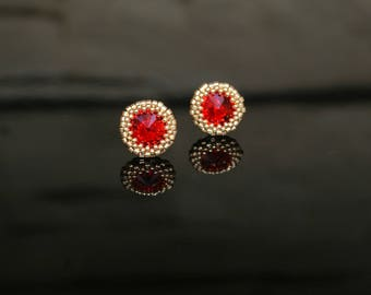 Small earrings with SWAROVSKI Crystals Light Siam (red) & Japanese beads 24kt Gold Plated