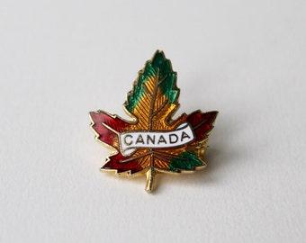 Vintage Canada enamel Maple leaf brooch, pin. Canada gold maple leaf red, yellow and green enamel brooch. Vintage Canada.