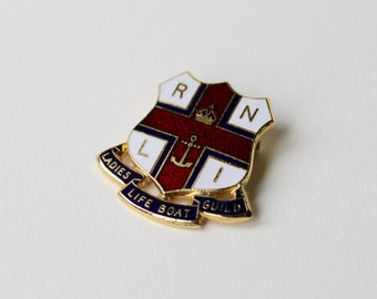 Vintage RNLI Ladies Lifeboat Guild badge. Ladies life boat guild enamel gold brooch. Fundraising group badge. Ladies enamel RNLI badge.
