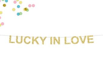 Lucky In Love Glitter Banner   Engagement Party Banner   Wedding Banner   Engagement   Photo Prop   Wedding Reception Banner   Anniversary