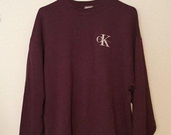 Vintage 80's 90's Calvin Klein Jeans Burgundy Crewneck PocketPrint Sweatshirt