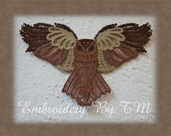 Owl lace -  free standing lace / two variants - color and monochrome - 5x7 hoop