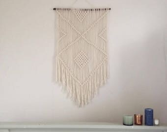 Large modern macrame woven wall hanging (bohemian, navajo style) made by hand in the UK