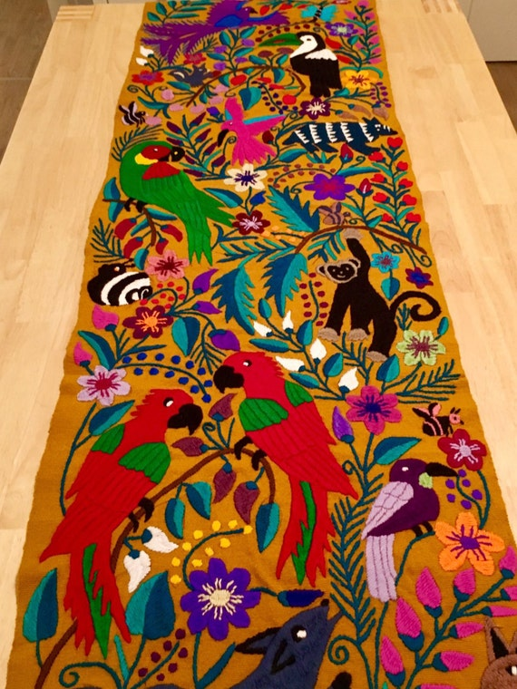 Mexican Hand Embroidered Table Runner dark brown birds