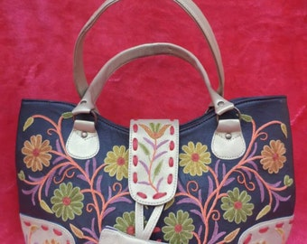 Leather Embroidered Purse