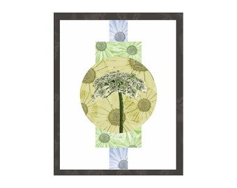 Botanical Art Print, Queen Anne's Lace, Contemporary Modern Minimalist Abstract Interior Decor, Poster Wood Panel in Gold Green Blue White