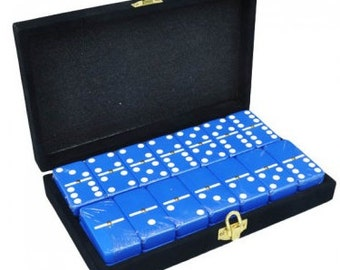Blue Dominoes in Velvet Box with Spinner