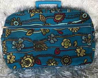 Vintage suitcase luggage overnight bag hand bag, carry on, bohemian, boho, floral suitcase, retro suitcase, toiletry bag