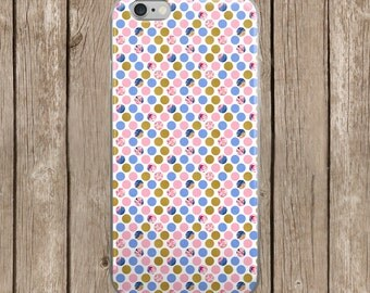 iPhone 5/5s/SE | iPhone 6/6s | iPhone 6 Plus/6s Plus | Pink and Navy Polk-A-Dots Design iPhone Case