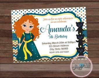 Brave Party Invitation, Brave Birthday Invitation, Princess Merida Party Invitation, Merida Birthday Party Invitation, Digital File.