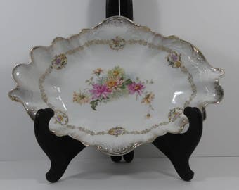 Vintage Carl Tielsch & Co. Porcelain Manufactury Transfer Decorated Oblong Scalloped Serving Bowl