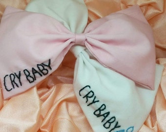 Cry Baby tear Inspired Embroidered Hair Bow