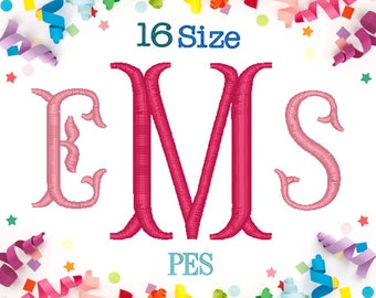 16 Sizes Fishtails Monogram Embroidery Font PES Format Embroidery Machine,Embroidery Font,Embroidery Design Monogram Font